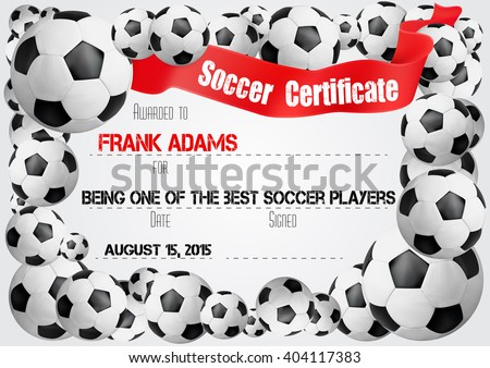 Soccer Certificate. Template With Football Ball Icons On The Border And Red  Ribbon Banner For
