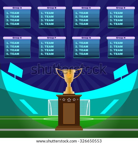 Soccer Champions Scoreboard Template On Dark Stock Illustration