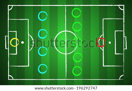 Soccer field chalk drawn style with tactical scheme 4-5-1. illustration eps 10