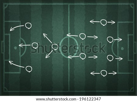 Soccer field with white lines on realistic blackboard.