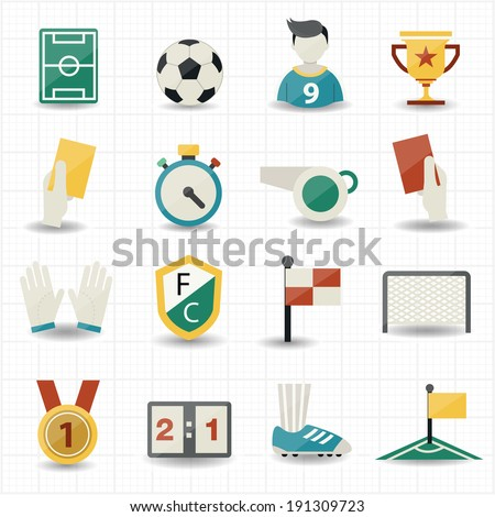 Icons Soccer Stock Vector 415449064