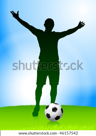 Soccer Player on Daytime Background Original Vector Illustration