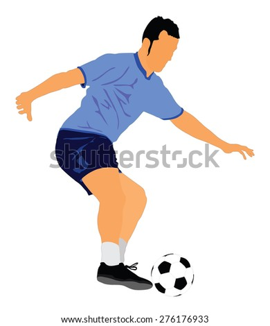 Soccer player vector isolated on white background. High detailed football player cutout outlines.