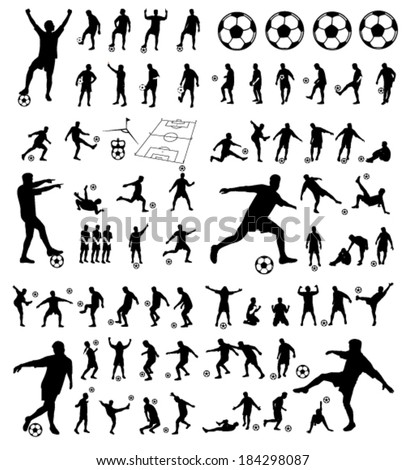 soccer players group vector silhouettes