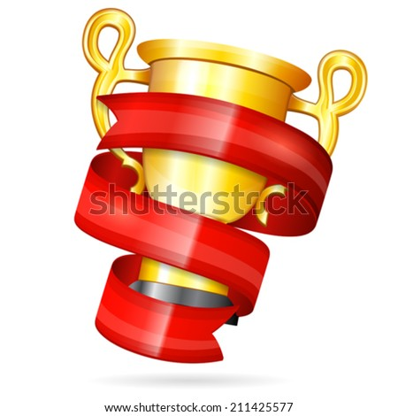 Soccer Poster with Ribbon and Gold Trophy, vector isolated on white background
