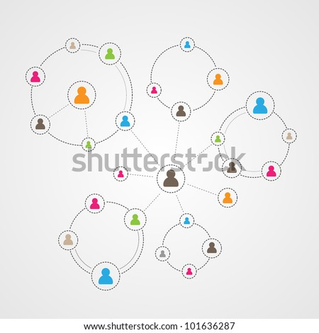 Social Media Circles, Network Illustration, Vector, Icon