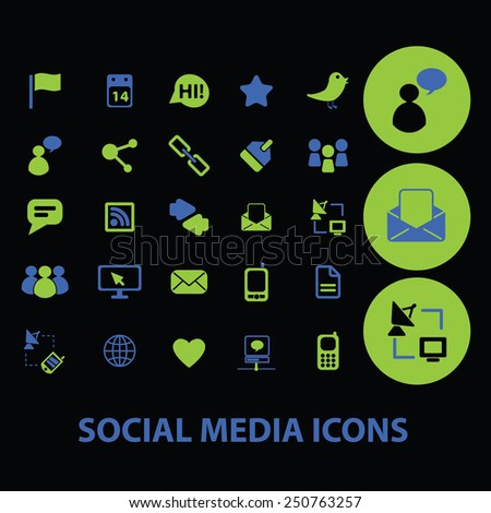 social media, community, network icons, signs, illustrations set, vector