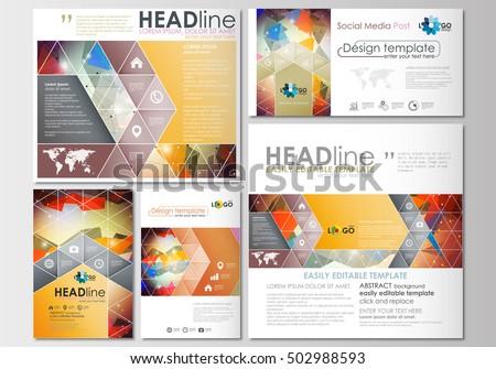 social media brochure template - set presentation layout design template powerpoint stock