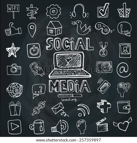 Social Media Word and Icons in Doodle sketchy in background.Hand drawing set.Colored outline vector.