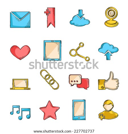 Social network icons sketch line set with communication user interface elements isolated vector illustration