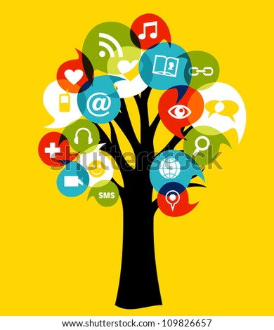 Social network tree with media icons leaf. Vector illustration layered for easy manipulation and custom coloring.