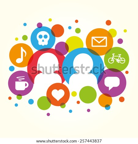 Social network vector internet chat community communication