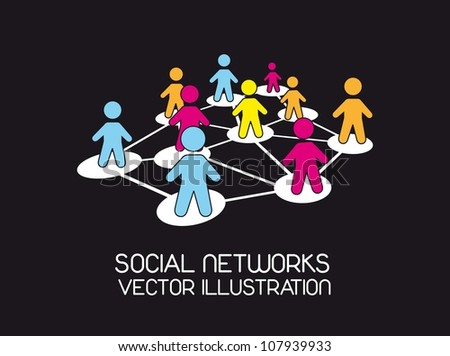 social network with colorful men icons over black background. vector