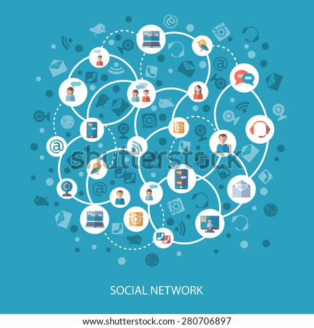 Social networks and communication connecting people online concept on blue background flat vector illustration