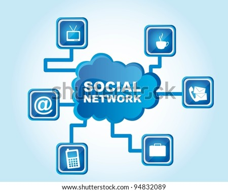 Social networks icons on blue background, Vector Illustration