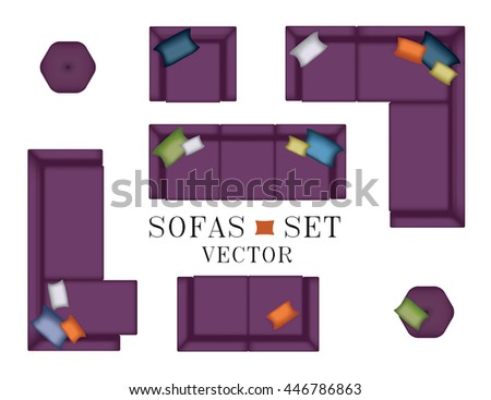 Modern Furniture Top View sofa top view sofas armchair set stock vector 444268861 - shutterstock
