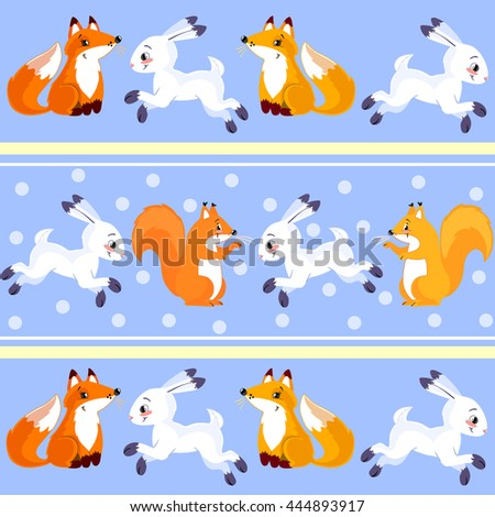 Soft color kids textile pattern with rabbits, squirrels and foxes.