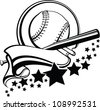 Softball or Baseball With Pennant & Stars Design - stock vector