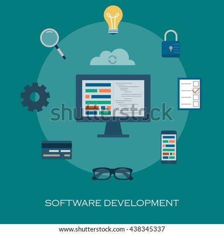 Information Technology Flat Lettering Cloud Technology