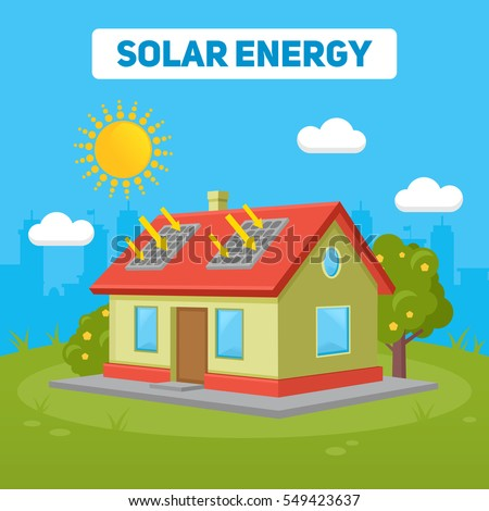 Cute rural house forest on page stock illustration for Solar energy games