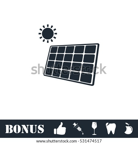 Solar panel icon flat. Vector illustration symbol and bonus pictogram