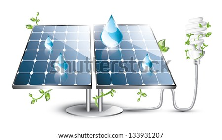 Solar panel with plugged in fluorescent lightbulb, EPS 10, isolated