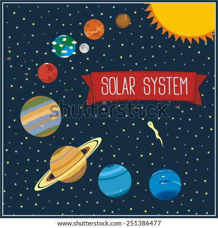 Universe Banner Solar System Stars Space Stock Vector ...
