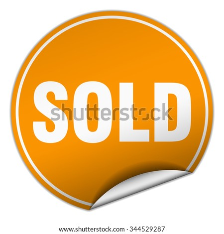 sold round orange sticker isolated on white. sold sticker. sold. sold sign