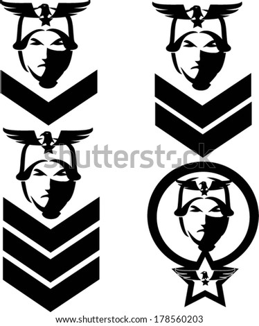 Soldier icon and rank insignia.