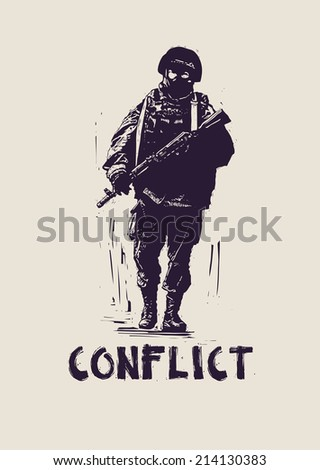 soldier.street art style. vector illustration