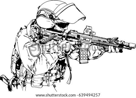 how to draw a submachine gun