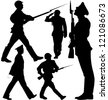 Soldiers marching and sentry guard vector silhouettes. Layered. Fully editable. - stock