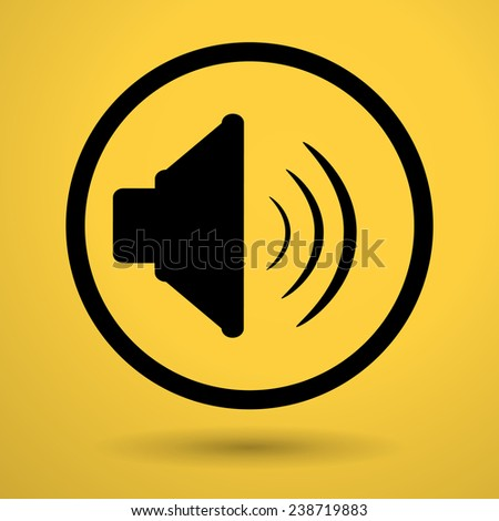 sound level  speaker on yellow background icon