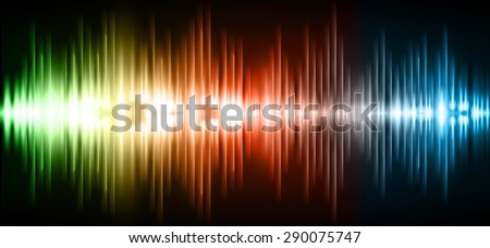 Sound waves oscillating glow green orange blue light, Abstract technology background. Vector. infographics