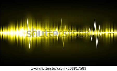 Sound waves oscillating glow yellow light, Abstract technology background. Vector. Pulse