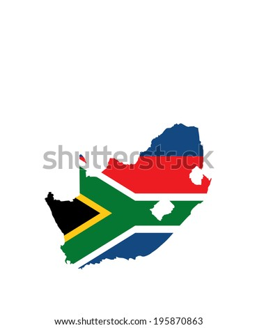 South Africa vector map and flag isolated on white background. High detailed silhouette illustration. South Africa vector flag.