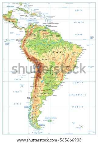 South America Political Map Lakes Riversvintage Stock Vector - South america relief map peru