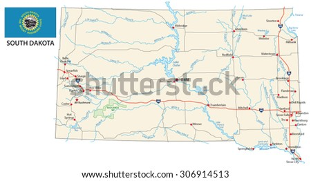Indiana State Road Map Interstates Us Stock Vector - Road map of south dakota