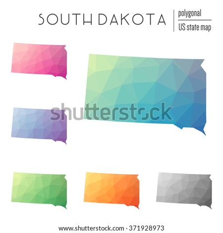 South Dakota state map in geometric polygonal style. Set of South Dakota state maps filled with abstract mosaic, modern design background. Multicolored state map in low poly style