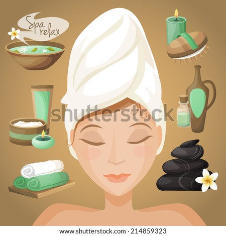 Spa healthcare salon therapy icons with beautiful woman face vector illustration