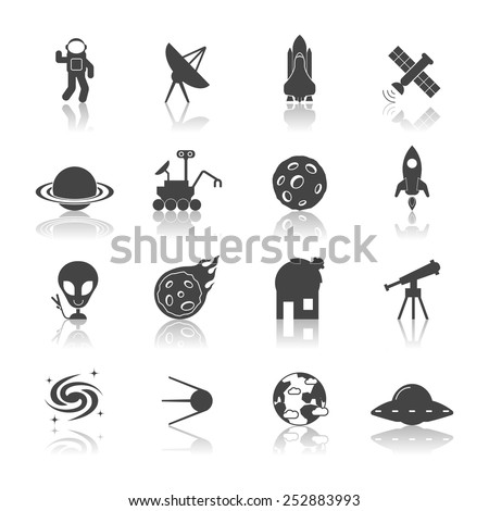 Space galaxy exploration icons black set with spaceship satellite astronaut shuttle isolated vector illustration