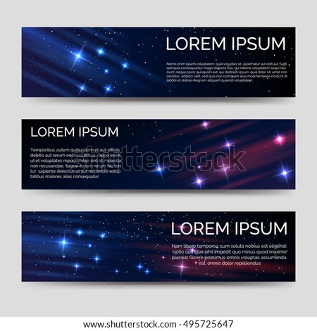Space horizontal banners template vector with shining elements