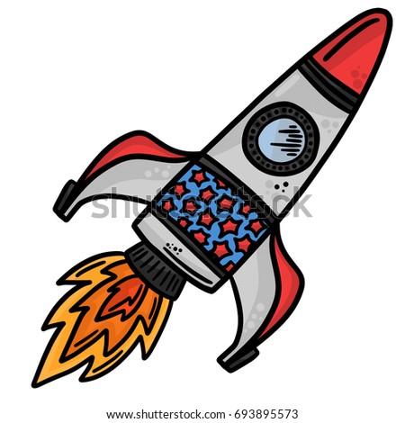 Cute Rocket Vector Illustration Stock Vector 82248421 ...