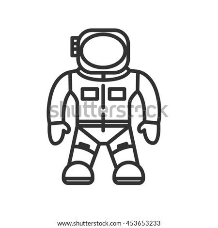 space suit icon astronaut thin line design