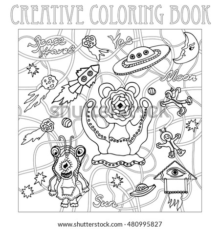 Coloring Page Dog Two Cats Sparrow Stock Vector 696074374