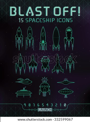 Spaceship Icons. 15 Spaceship icons (Rockets and Flying Saucers) in a vintage/retro style, on a techie space background with custom made type for the text and titles