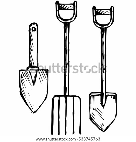 Spade and pitchfork, bayonet spade. Isolated on white background. Vector, doodle style