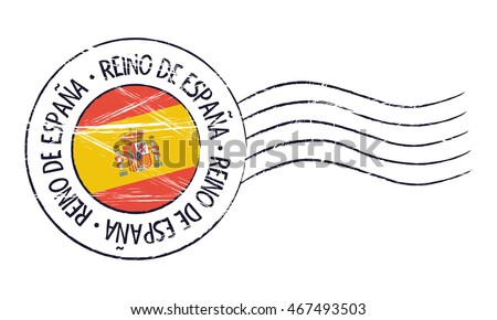 Spain grunge postal stamp and flag on white background