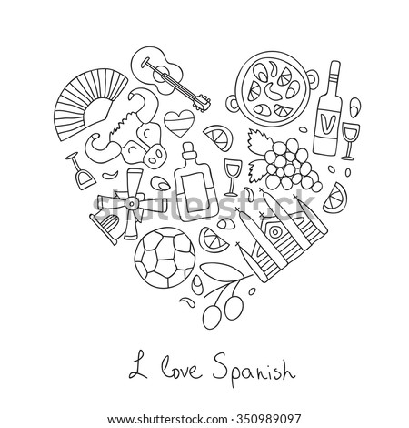 "Spanish icons in the shape of a heart. The inscription ""I love Spain."" Vector illustration on white background."