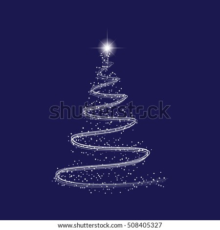 sparkly christmas tree of lines with light effect vector illustration eps 10